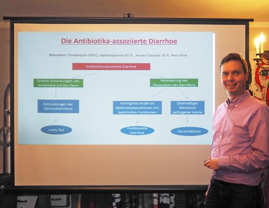 Apotheker Dr. Jürgen Leikert erklärt die Mechanismen der Antibiotika-ausgelösten Diarrhoe